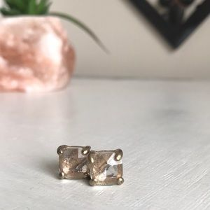 Kate Spade Square gold platted gem stone earrings